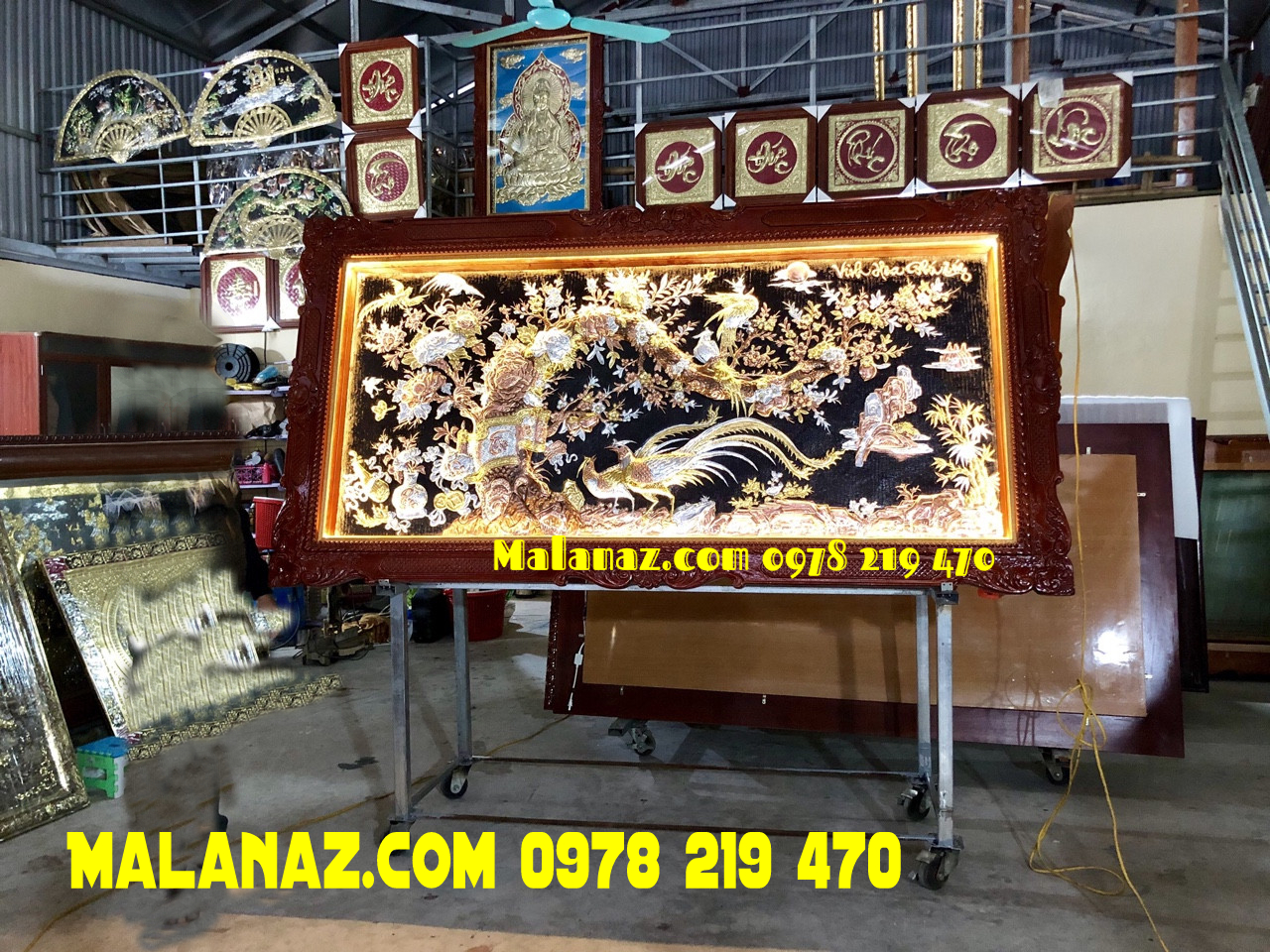 Tranh đồng cao cấp - Tranh đồng đỏ - mạ vàng bạc - DVH13 Malanaz