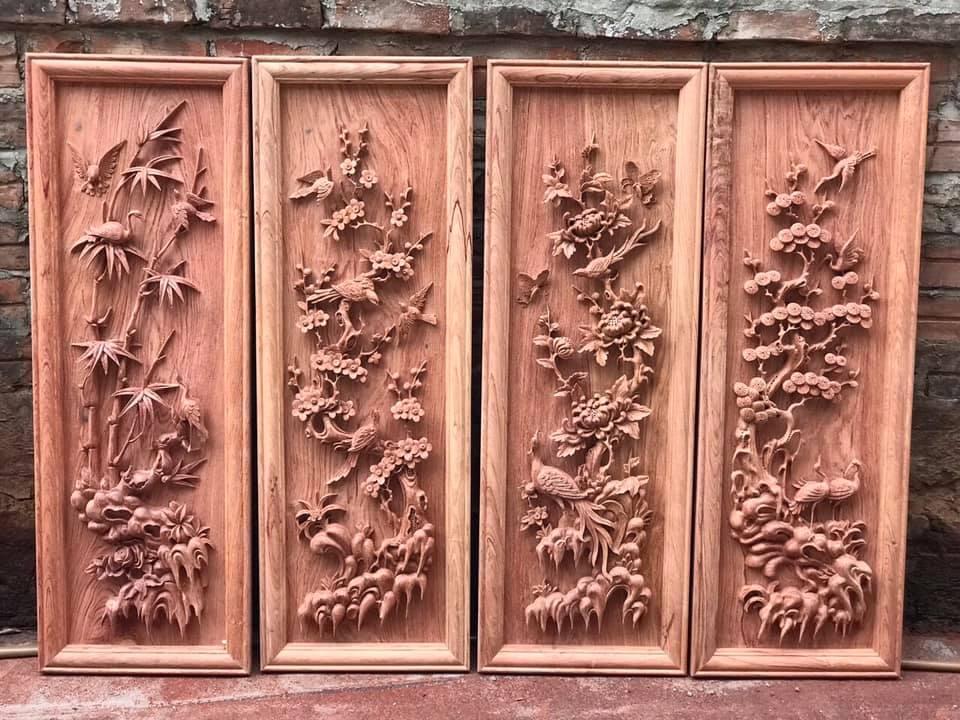Tranh gỗ phong thủy - Tranh tứ quý - CT01 -