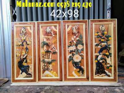 Tranh gỗ treo phòng khách - Tranh tứ quý - DL02