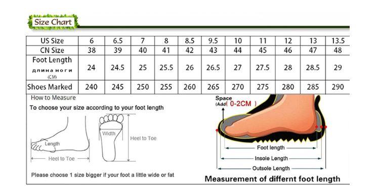 size giày