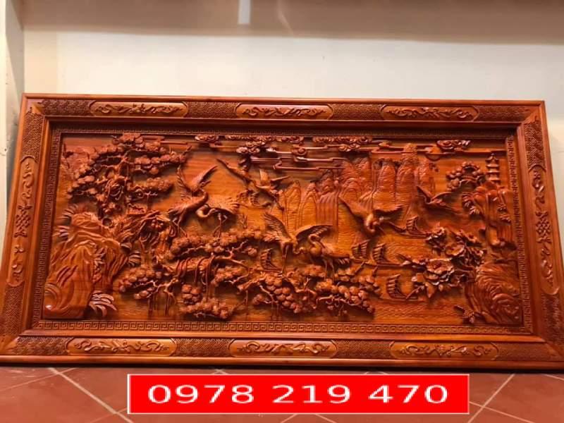 Tranh gỗ đục tay - Tranh gỗ Tùng hạc Du Xuân 217x107x6cm - PH01