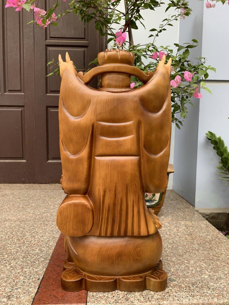Thần tài nghinh hỉ gỗ pơmu được pu giả cổ đài loan - TL01 - 01