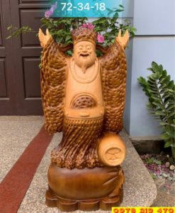 Thần tài nghinh hỉ gỗ pơmu được pu giả cổ đài loan - TL01-02