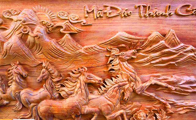 Mẫu Tranh Gỗ Bát Mã Truy Phong - hay Mã Đáo Thành Công Được các nghệ nhân bậc thầy điêu khắc kênh bong cực kì ...