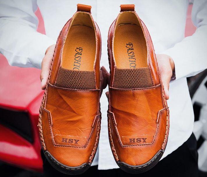 Giày Thủ Công Giản Dị Của Nam - Giày Da Lười Với Kích Thước Lớn - GD86