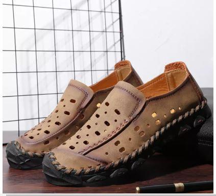 Giày Loafer Giản Dị Cho Nam Da Bò Giày Lái Xe Chạm Khoét Thoáng Khí Da Đanh Nhẹ - GD77A