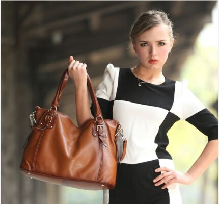 Heshe Women's Leather Handbags Shoulder Tote Bag Top Handle Bags Satchel Designer Ladies Purses Cross-body Bag - TX122R