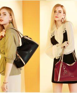 Leather Handbags for Women, Genuine Leather Ladies Top-handle Shoulder Bags - (1)