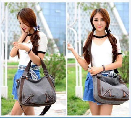 Thời trang Canvas Nữ Túi Xách Slit Pocket Shoulder Bags Big Giản Dị - TX159HD
