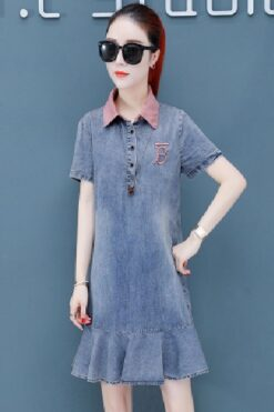 Đầm dạ hội - Đầm Jean Cổ Hồng Sơ Mi Đuôi Cá - TP49S (1)