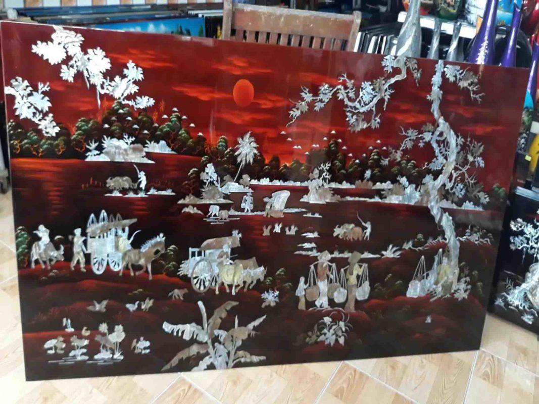 Tranh sơn mài phong cảnh làng quê - Gánh lúa đêm trăng - Malanaz Shopping - cung cấp tranh sơn mài