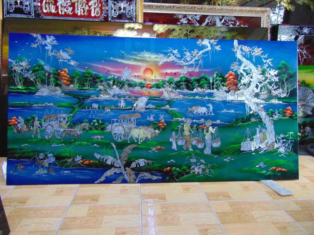 Tranh sơn mài phong cảnh làng quê - Gánh lúa đêm trăng - Malanaz Shopping - cung cấp tranh sơn mài - giá tốt