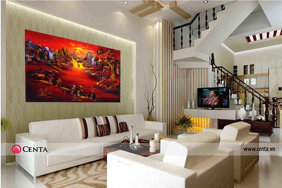 Tranh sơn mài Việt Nam - núi non hùng vỉ trùng điệp.
