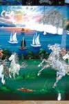 Tranh mã đáo thanh công - nền xanh cảnh biển - MDNXL02 - Small
