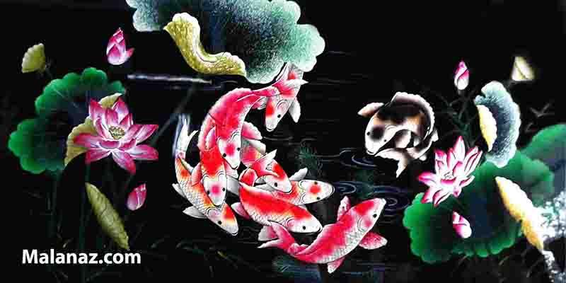 Tranh sơn mài đẹp - Cá chép đầm sen