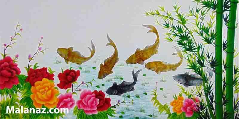 Tranh sơn mài đẹp - cá chép vàng