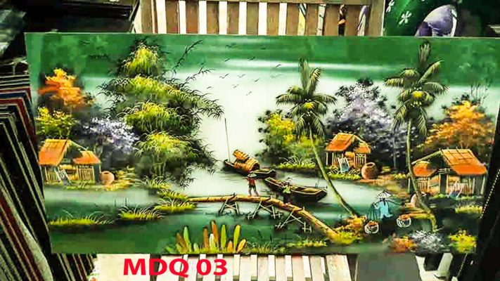 Tranh sơn mài đồng quê việt nam - Tranh đồng quê - Malanaz Shopping - sale