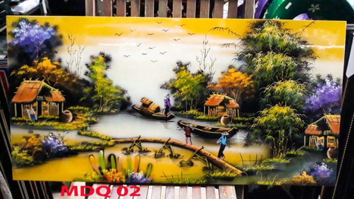 Tranh sơn mài đồng quê việt nam - Tranh đồng quê - Malanaz Shopping