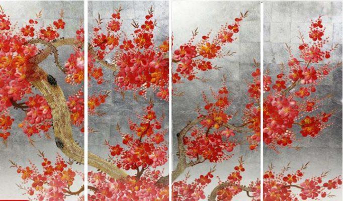 tranh sơn mài hoa đào -  HD01