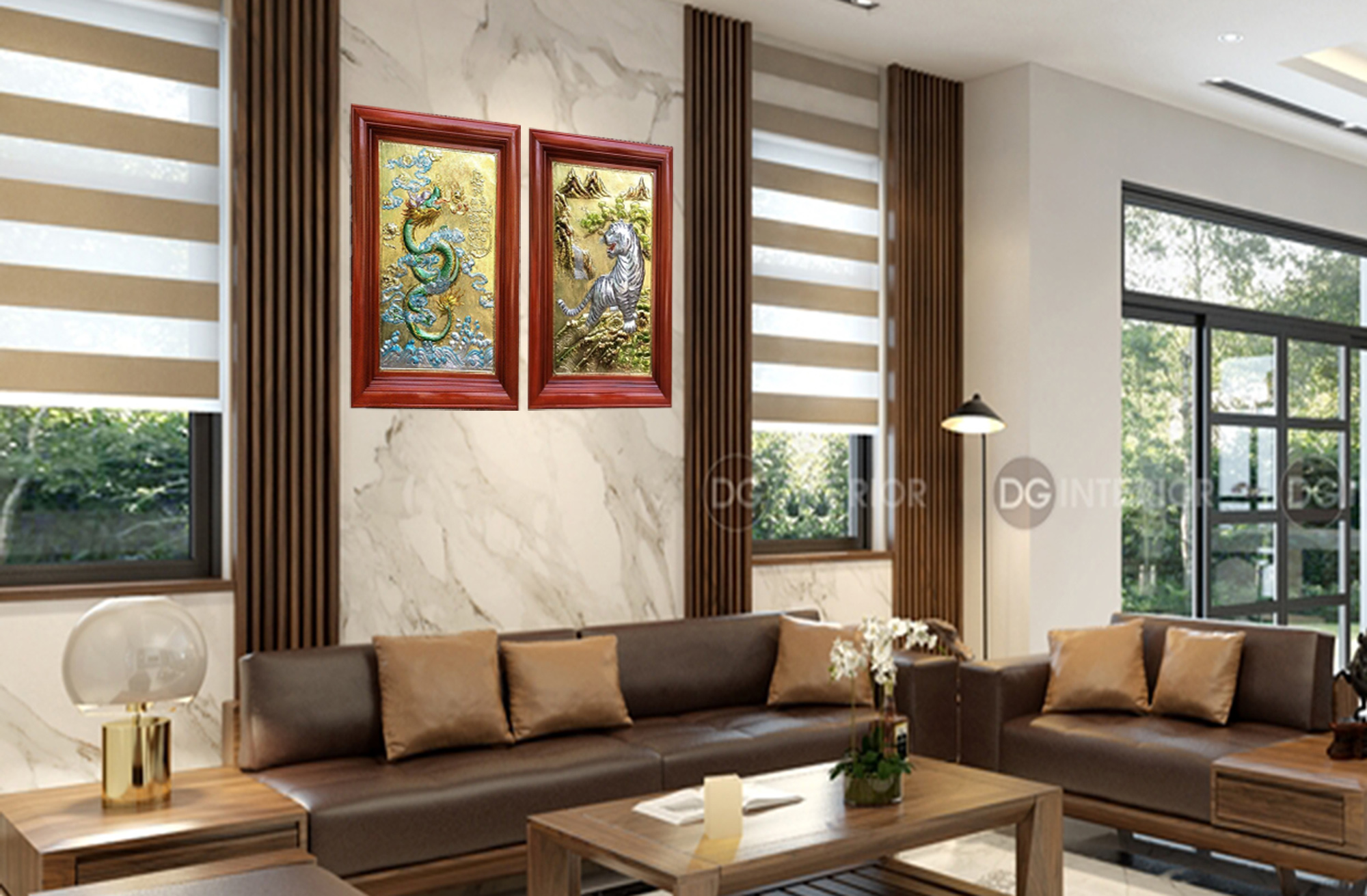 Tranh bằng đồng - Thanh long bạch hổ - TL01 - Malanaz.com Sale