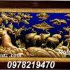Tranh đồng trang trí phòng khách - Tranh tùng hạc ăn đêm TH04