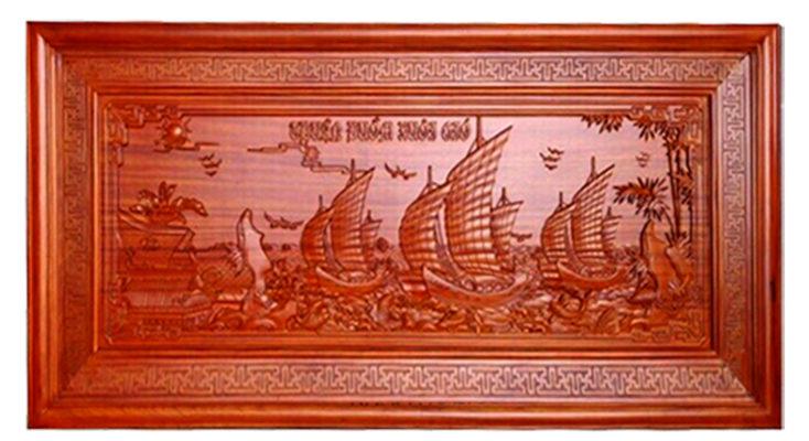 Tranh Gỗ Thuận Buồm Xuôi Gió gỗ Hương BT02 - AB