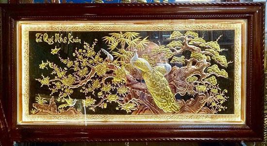 Tranh đồng Hà Nội - Tranh đôngTứ quý như xuân - VH09 - A