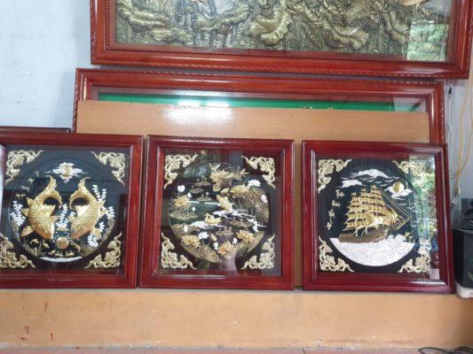 Tranh đồng cao cấp - Tranh đồng bộ ba 80 x 80 cm - B01A - Malanaz Shopping Sale off