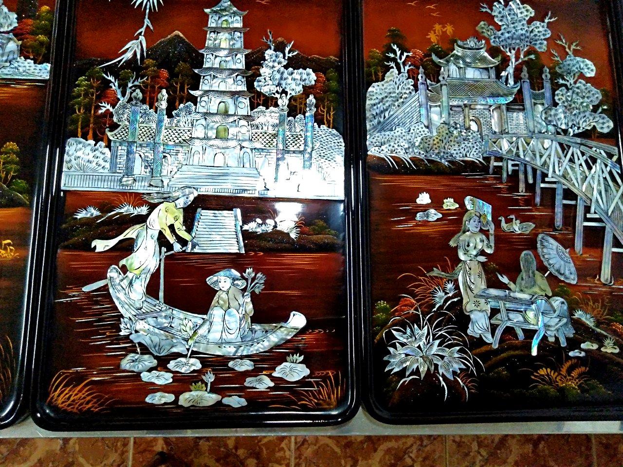 Tranh soen mài cao cấp - Tranh Sơn mài Tứ Đền TD02 - SALE OFF - Malanaz Shopping - Giá tốt nhất