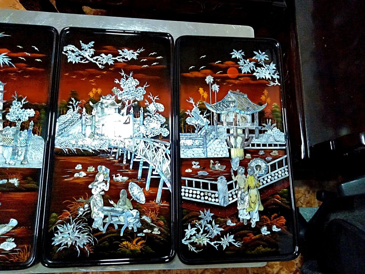 Tranh sơn mài cao cấp - Tranh Sơn mài Tứ Đền TD02 - SALE OFF - Malanaz Shopping - Giá tốt nhất - Giao hàng nhanh