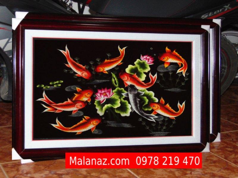 Mua tranh thêu Phong Thủy - Tranh Quần Ngư Hội Tụ TQN07A