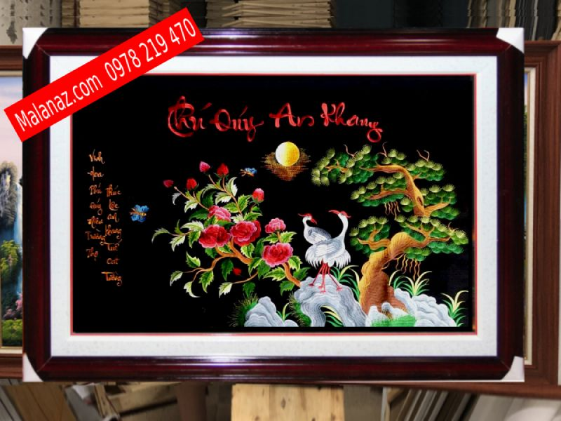 Tranh Thêu Tùng Hạc - TTH02