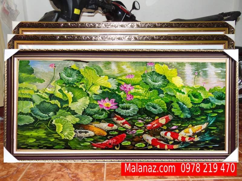 Tranh sơn dầu đẹp treo phòng khách - Quần Ngư SQN02