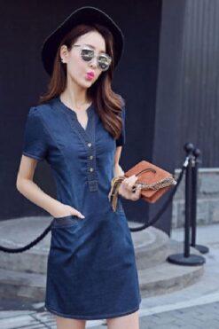 Đầm Jean Cổ V Nẹp Viền Phối Túi Happy Time – DPN24AM