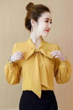 Thời trang style Hàn Quốc - Áo Sơ Mi Vàng Cổ Nơ Tay Bo Phồng Công Sở - PN08