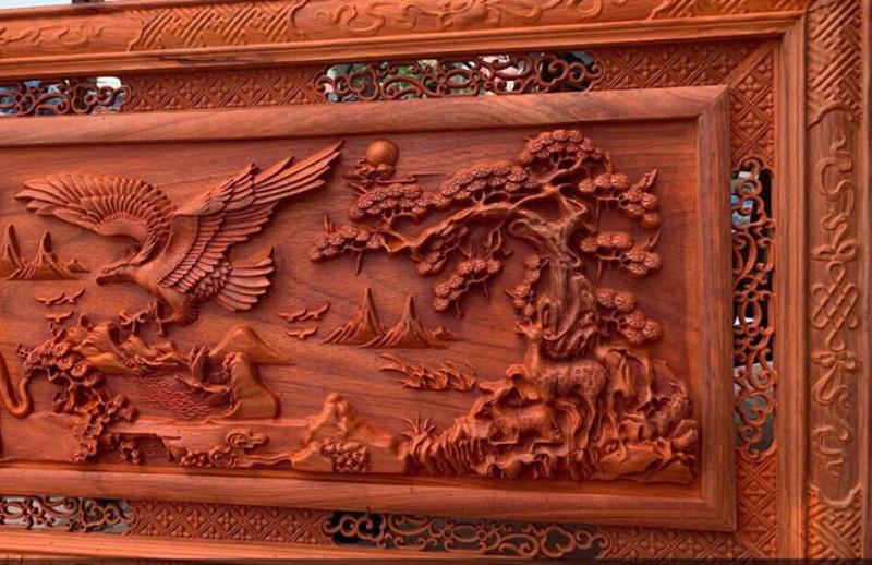 Tranh gỗ cao Hùng Tương Ngộ - cao 127 ngang 67cm dầy 45mm hương nam phi - (2)