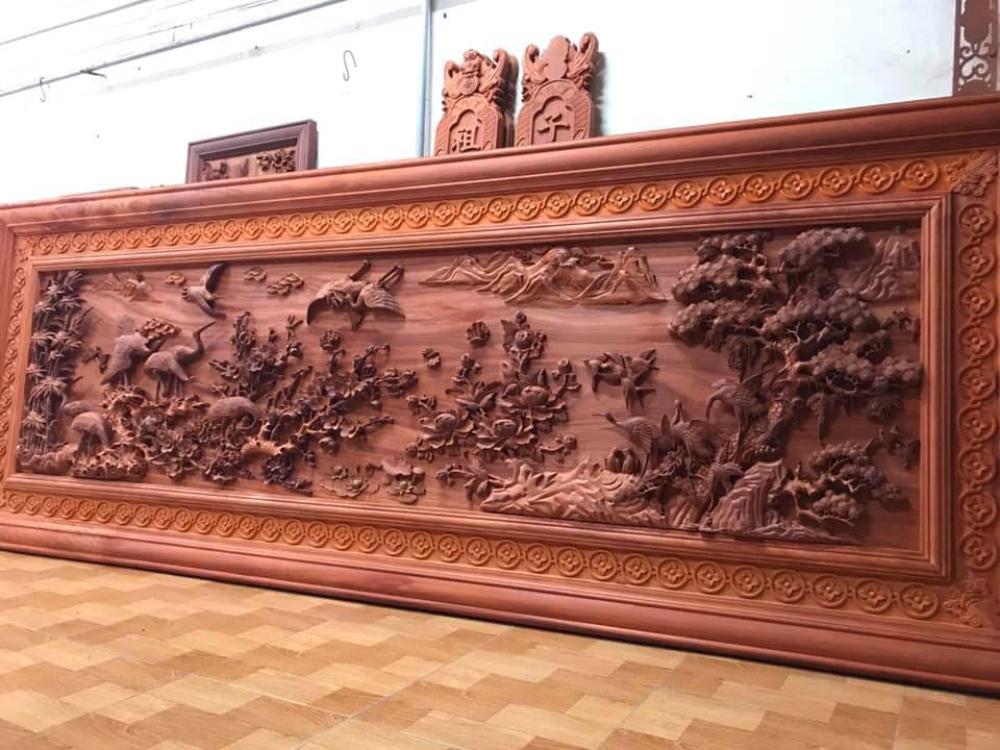 Tranh gỗ cao cấp - cửu hạc du xuân - kt 385x142x7 - Malanaz