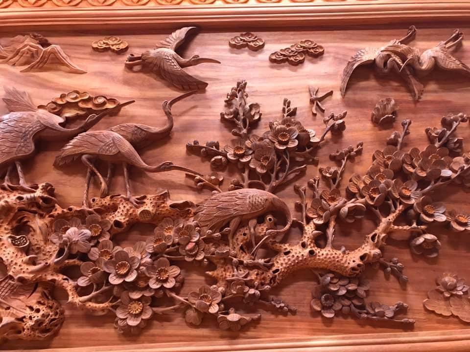 Tranh gỗ cao cấp - cửu hạc du xuân - kt 385x142x7 - Malanaz Shopping