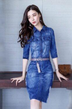 Đầm Jean Cổ Sơ Mi Phối Sọc Tay Lỡ Cao Cấp - TP52S (1)