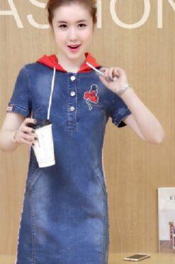 Đầm Jean Thêu Cô Gái Phối Nón Đính Nút Cao Cấp - TP40F (1)