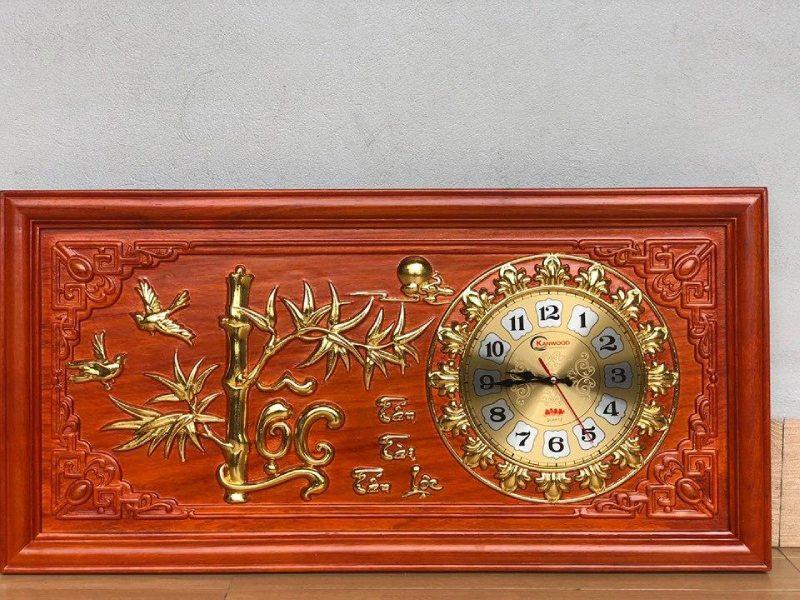 Đồng hồ gỗ cao cấp cữ lộc - 81x41x3 - NQ10B (1)