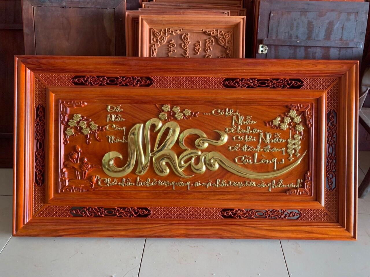 Tranh gỗ cao cấp - tranh chữ nhẫn - 127 x 67 x 4 - NQ25 - cChaats liệu gỗ hương
