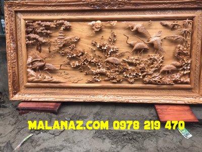 Mua tranh gỗ VIP - Tranh gỗ tùng hạc -KT 117x237x10cm - DD11A