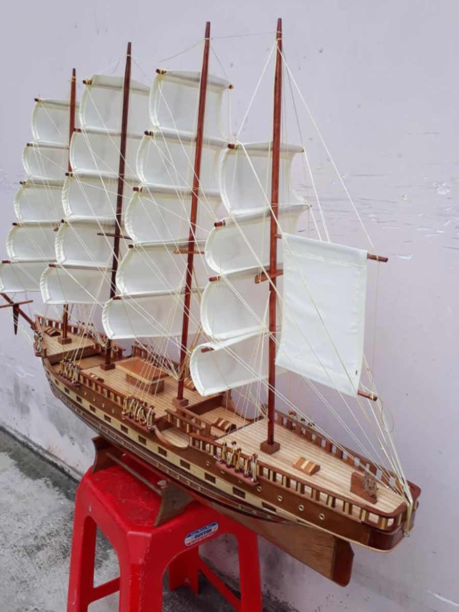 Thuyền mô hình bằng gỗ KT120cm - PT01 (1)
