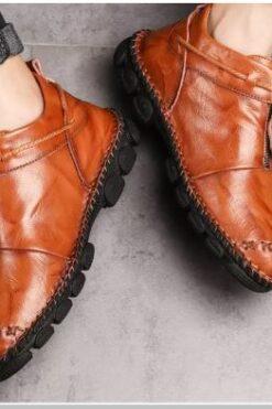 Giày Khâu Tay Da Chống Mòn Chống Trượt Đế Mềm - GD80D
