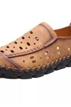 Giày Loafer Giản Dị Cho Nam Da Bò Giày Lái Xe Chạm Khoét Thoáng Khí Da Đanh Nhẹ - GD77J