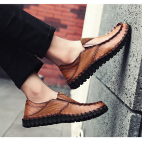 Giày Mọi Bằng Tay Thoáng Khí Mùa Xuân, Giày Nam, Da Bò Phiên Bản Hàn Quốc, Giày Nam Giản Dị, Giày Da, Giày Lái Xe - GD75-01