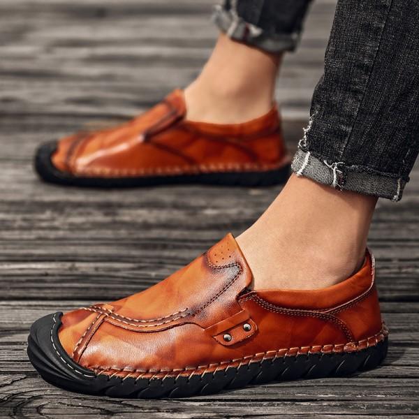 Giày Slip On Kiểu Loafer Mũi Tròn Giản Dị Giày Đế Bằng Nam Của Giày Dã Ngoại Thời Trang -GD70A