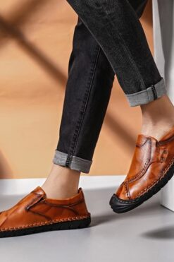 Giày Slip On Kiểu Loafer Mũi Tròn Giản Dị Giày Đế Bằng Nam Của Giày Dã Ngoại Thời Trang -GD70B