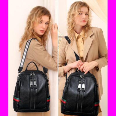 Ba Lô Da Nữ Đen - Ba Lô Nữ - Túi Nữ đeo Lưng Bagpack - TX148DF